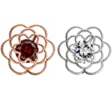 W WOOGGE Men's Lapel Pin Set Red Crystal zircon Wedding Women Rose flower Cuff Brooch pin For Suit/Clothes/Bags/Backpacks/Jackets