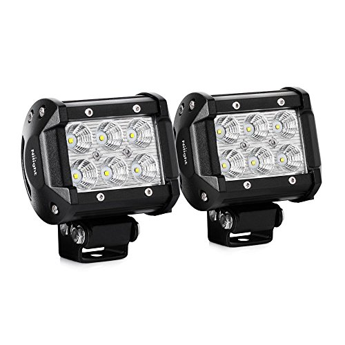 Nilight Led Light Bar 2PCS 18w 4″ Flood Driving Fog Light Off Road Lights Boat Lights driving lights Led Work Light SUV Jeep Lamp,2 years Warranty