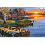 """River's Edge """"Autumn at the Lake"""" by Darrell Bush LED Lighted Gallery Wrapped Canvas Art, 24"""" X 16"""""""