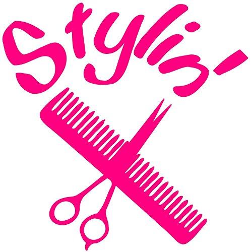 "Price comparison product image Stylin' Hair Dresser Vinyl Decal Sticker - Salon Barber Hair Stylist 5"" x 5"" WHITE"