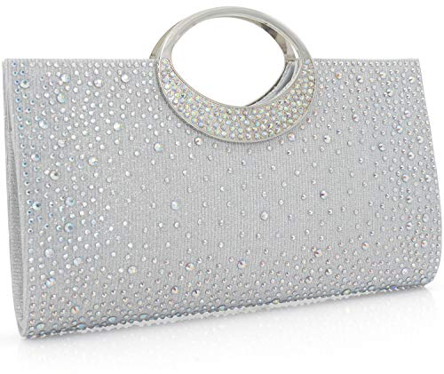 Dexmay Shiny Evening Bag with Crystal...