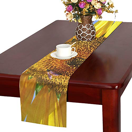 WBSNDB Sunflower Honeybee Flower Yellow Blossom India Table Runner, Kitchen Dining Table Runner 16 X 72 Inch for Dinner Parties, Events, Decor
