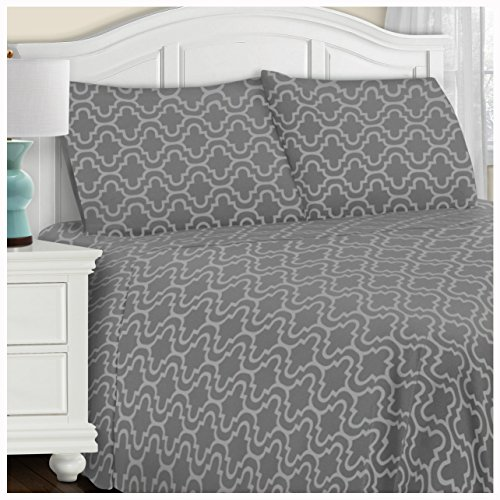 King Size Flannel Sheets (Superior Extra Soft Printed Highest Quality All Season 100% Brushed Cotton Flannel Trellis Bedding Sheet Set with Deep Pockets Fitted Sheet - Grey Trellis, King Size)