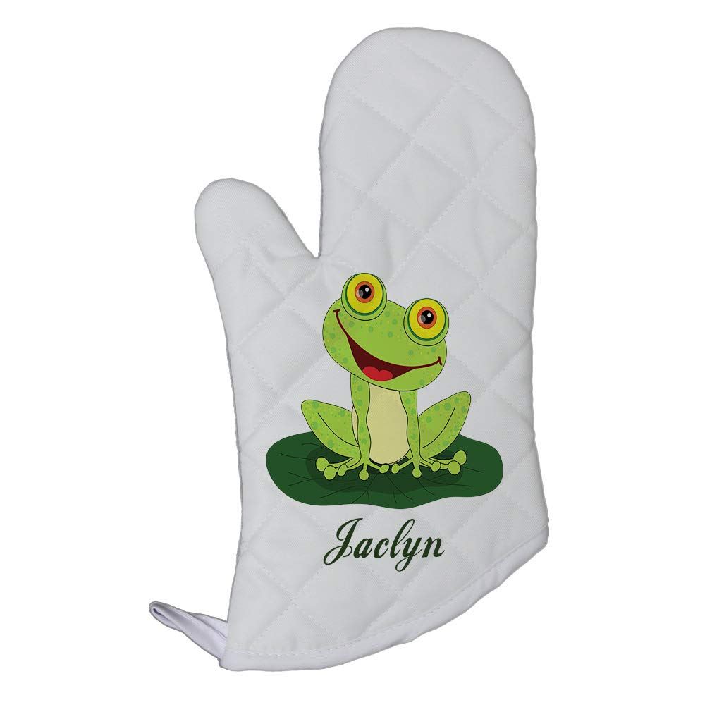 Personalized Custom Text Happy Frog Polyester Oven Mitt Kitchen Mittens