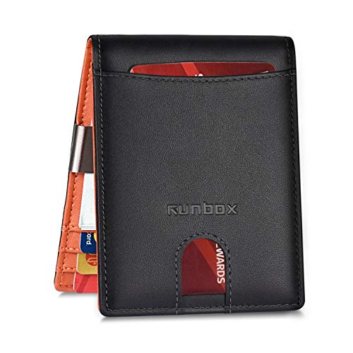 Slim Genuine Leather Wallet With Money Clip for Men or Women