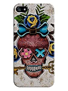 LarryToliver New Personalized Design Cheap unique Beautiful Skull Arts Perfect Fit iphone 5/5s Hard Plastic Durable Back Case For New Year #1
