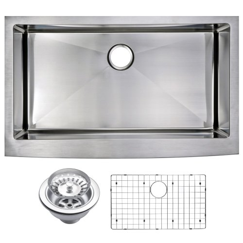 Water Creation SSSG-AS-3622B 36 X 22 15 mm Corner Radius Single Bowl Stainless Steel Hand Made Apron Front Kitchen Sink with Drain and Strainer