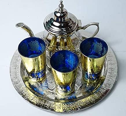 juego de te ; arabe 3 vasos de cristal,1 tetera 1 bandeja repujada de 25 cm de diametro
