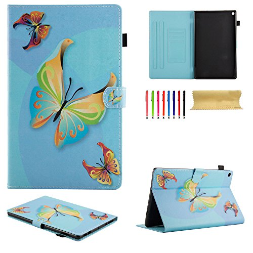 Uliking Fire HD 10 Tablet Case (7th Generation 2017 & 5th Gen 2015 Release PU Leather Flip Stand Wallet with Card Stylus Slot Auto Wake/Sleep Cover for Amazon Fire HD 10.1 Inch, Blue Butterfly for $<!--$17.99-->