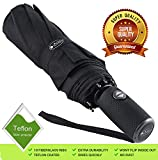 Outdew 'Unbreakable' Windproof Compact Travel Black 210T Fabric Umbrella with Teflon Coating Lightweight for Men Women and Kids Auto Open Close with 10 fiberglass ribs