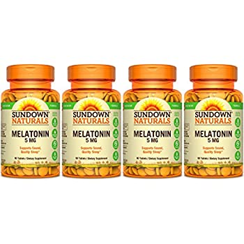 Sundown Naturals Melatonin Extra Strength 5mg, 360 Tablets (4 X 90 Count Bottles)
