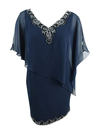 fa09ae1baf360 Image Unavailable. Image not available for. Color: J Kara Women's Chiffon  Bead-Trim Capelet Dress ...