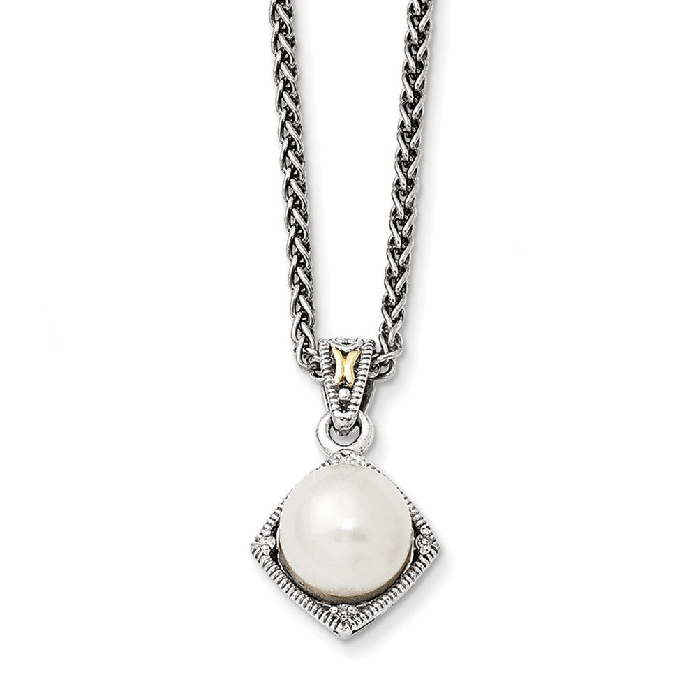 Top 10 Jewelry Gift Sterling Silver w/14k FW Cultured Pearl & Diamond Necklace