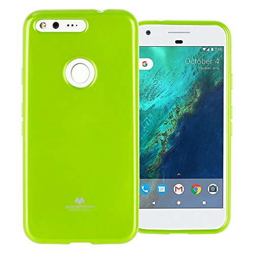 GOOSPERY Marlang Marlang Google Pixel Case - Lime Green, Free Screen Protector [Slim Fit] TPU Case [Flexible] Pearl Jelly [Protection] Bumper Cover for Google Pixel 2016, PIX-JEL/SP-LIM
