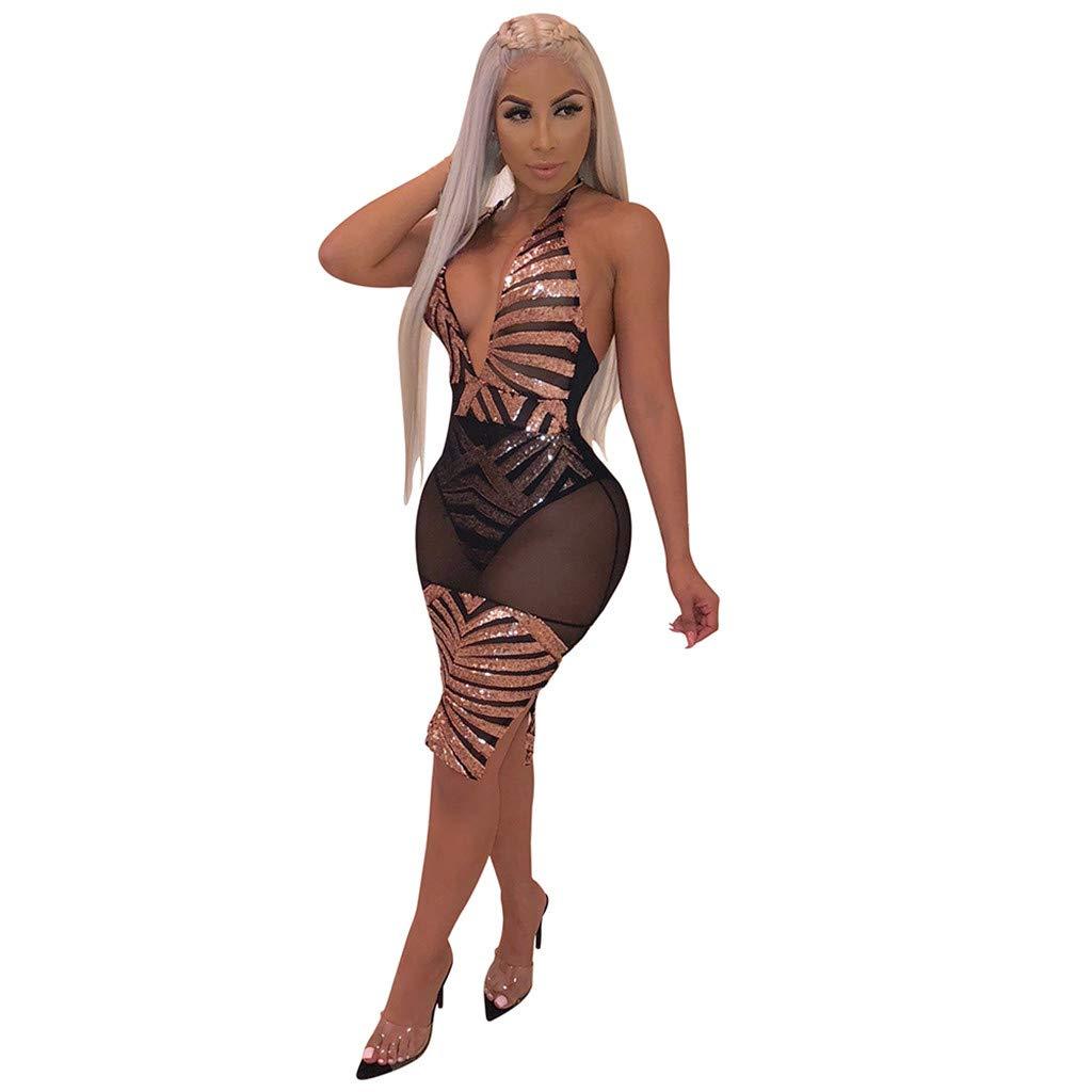 Women Fashion Mini Sheath Halter Dress Deep V Backless Mesh Sexy Dress Sequin Beach Club Party Dress