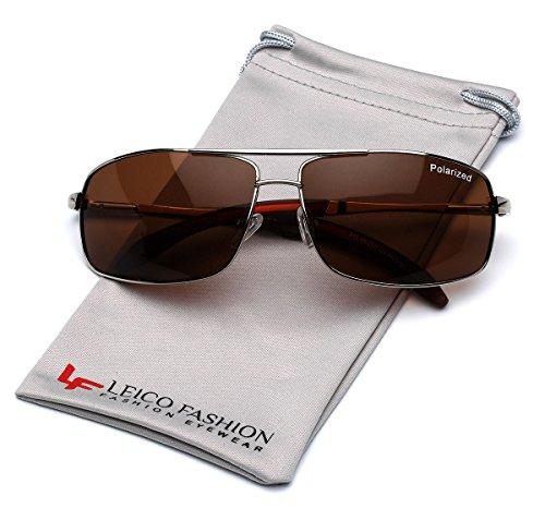 Classic Polarized Metal Double Bridge Square Aviator - Rectangular Aviator Sunglasses