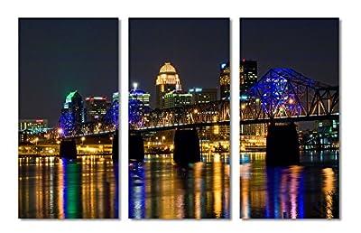 Louisville, Kentucky City Skyline - 3 Panel Split (Triptych) Canvas Print.