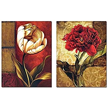 Smoosky 2PC Flower Painting on Canvas for Home/wall Decoration Modern Living Wall Art Decoration Decor with wooden framed and strecthed