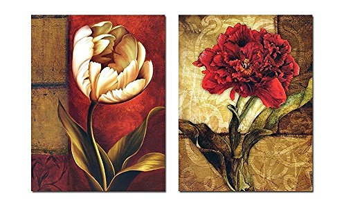 Smoosky 2PC Flower Painting on Canvas for  Decoration