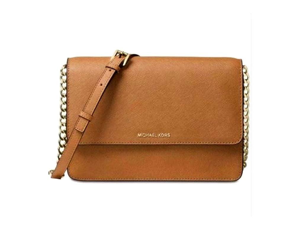 dcea02102c23 Michael Kors Large Gusset Leather Crossbody - Acorn: Handbags: Amazon.com