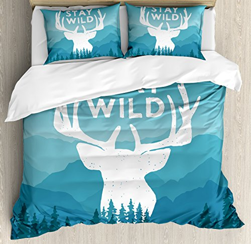 - Ambesonne Adventure Duvet Cover Set Queen Size, Wilderness Themed Stay Wild Quote with Scenic Mountain Backdrop Forest, Decorative 3 Piece Bedding Set with 2 Pillow Shams, Baby Blue Dark Blue