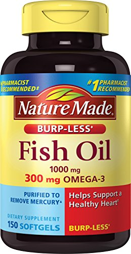 Nature Made Burpless Fish Oil 1000 mg w. Omega-3 300 mg Softgels 150 Ct (Total 3 Omega)