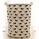 Fashionable Cotton Fabric Folding Laundry Hamper Storage Basket Dirty Clothes Hamper Basket (Whales)