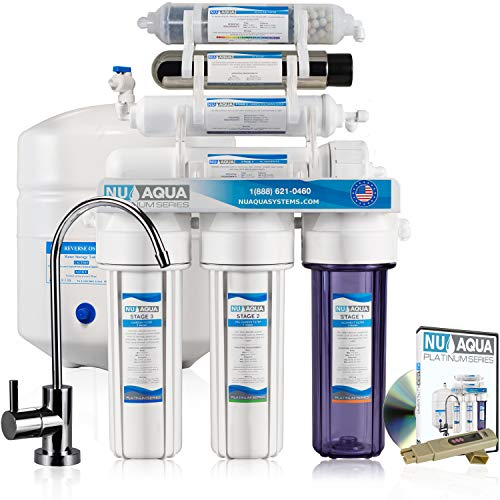 NU Aqua Platinum Series 100GPD Under Sink Reverse Osmosis Drinking Water Filtration System – Premium Water Filter (7 Stage UV and Alkaline) -