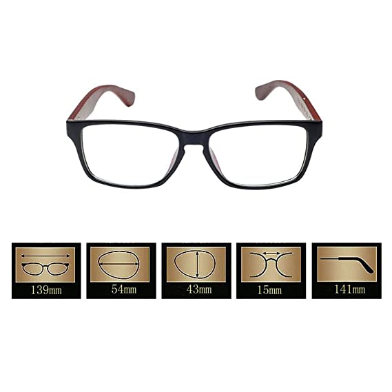 a1ab58aed0 Xinvision Retro Wooden Arms Myopia Eyeglasses Anti-radiation Short Sight Nearsighted  Glasses -1.0~-6.0 (These are not reading glasses)  Amazon.co.uk  ...