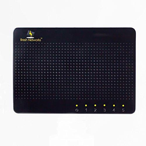 Ethernet Wirespeed (Brash Networks 5-Port 100/1000 Mbps Full Duplex Desktop Ethernet Gigabit Switch BN105)