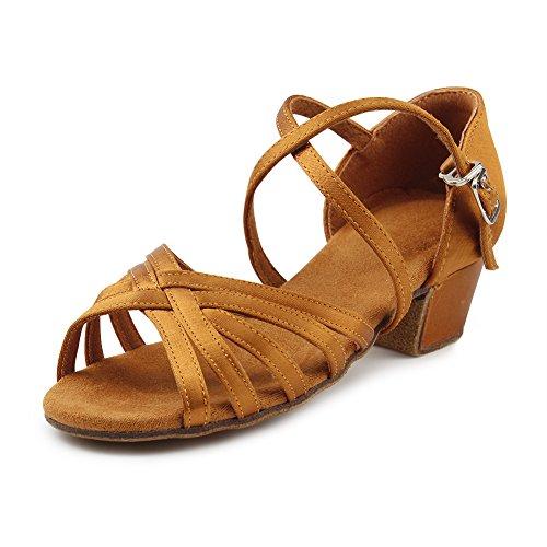 - MSMAX Professional Latin Shoes Satin 1.1inch Heel Practice Party Ballroom Wear,Big Kid Size 3.5