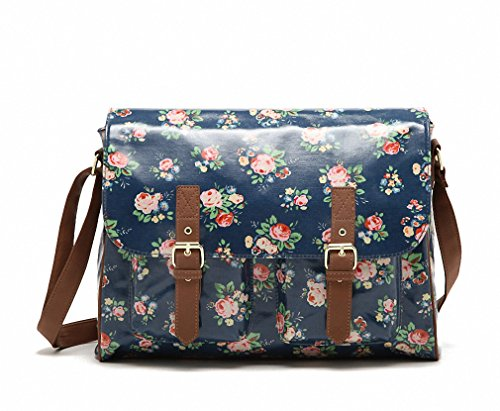 Kenox Vintage Women Laminated Canvas Messenger Bag Mori Girl Crossbody Satchel Bag Floral Waterproof Briefcase Floral