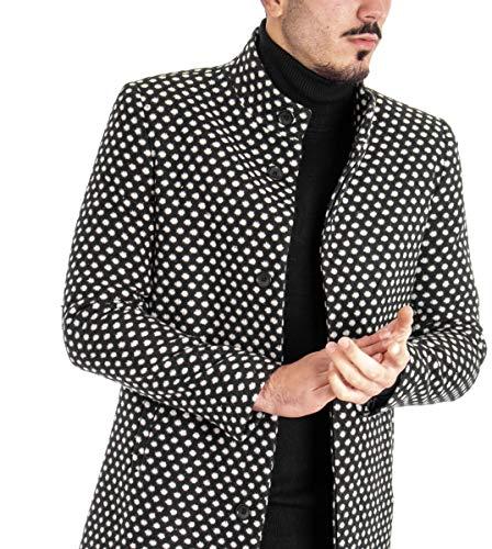 Cappotto Uomo MOD Soprabito Giacca Elegante Fantasia Pois