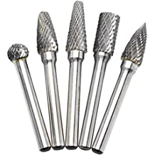 OSIDU 5pcs 10MM Head Tungsten Carbide Rotary Burr Set 1/4-Inch 6mm Shank Die Grinder Bits Rotary File Grinder Drill Bit for Metal Carving