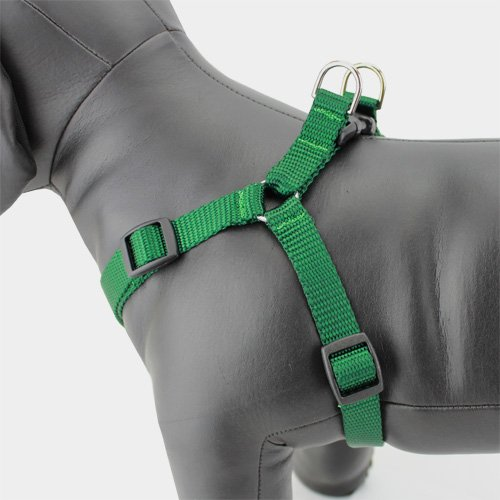 Green Step-in Dog Harness, Nylon, Size XS - XL