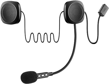Auricular de motocicleta con Bluetooth para casco, audífonos, altavoces, intercomunicador para cascos, auriculares inalámbricos con sistema de sonido de micrófono para motocicleta: Amazon.es: Electrónica