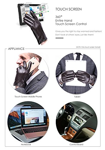 Leather Gloves for men,Anccion Best Touchscreen Winter Warm Italian Nappa Geniune Leather Gloves for Men's Texting Driving Cashmere/fleece Lining (Large, Brown) by Anccion (Image #3)