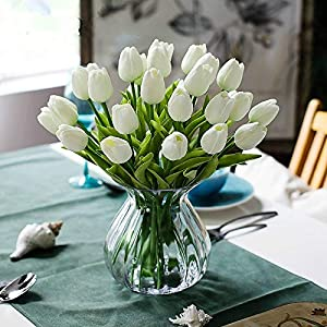 """CountryGrass 24pcs Artificial Tulip Flowers Real Touch PU Tulips Floral Arrangement Yellow White Pink 14"""" for Wedding Home Centerpiece Decoration Hotel Party Decoration (White) 3"""