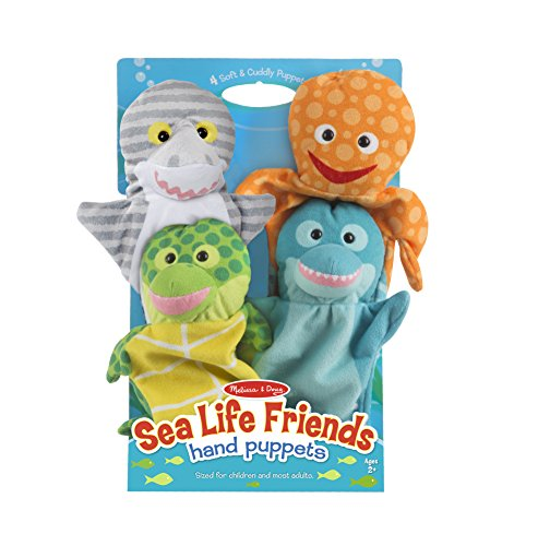 Melissa & Doug Sea Life Friends Hand Puppets, Puppet Sets, Shark, Dolphin, Sea Turtle, and Octopus, Soft Plush Material, Set of 4, 14
