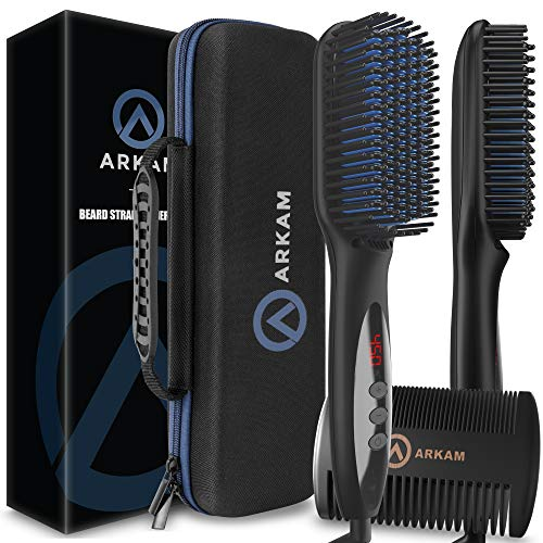 Arkam Deluxe Beard Straightener for Men - Ionic Beard Straightening Comb, Anti-Scald Feature, Hair Straightener for Men, Portable Beard Brush Straightener, Premium Travel Case & Beard Comb Included
