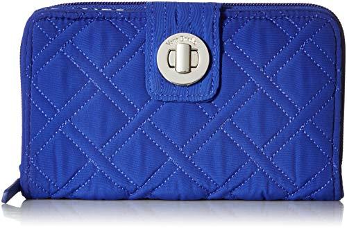 - Vera Bradley RFID Turnlock Wallet, Microfiber, gage blue