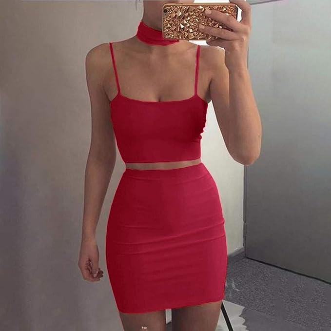 Amazon.com: Juego de faldas sexy para mujer, 2 piezas, con ...