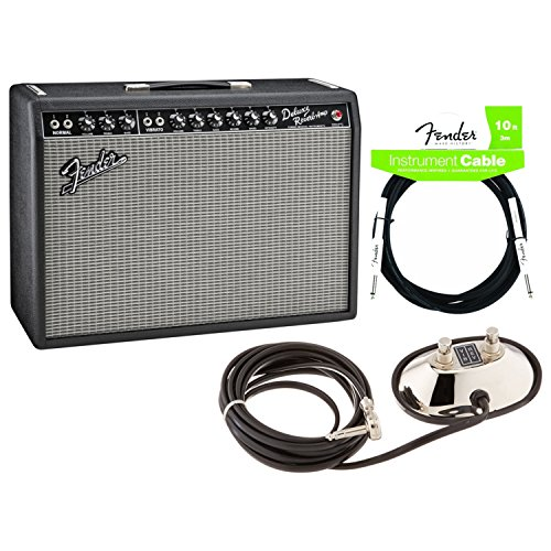 Fender 0217400000 '65 DELUXE REVERB Tube Guitar Amplifier with 2-Button Footswitch and Instrument Cable - Fender 65 Deluxe Reverb Amp