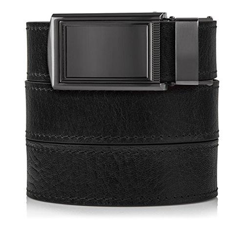 (SlideBelts Top Grain Leather Ratchet Belt (Black with Framed Gunmetal Buckle, Up to 48