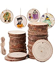 SOMIER 20/30/50 Pcs Natural Wood Slices, Rustic Unfinsihed Wooden Circles Predrilled Hole Round Discs with 32.8 Ft Jute Twine DIY Crafts Ornaments for Christmas Decor