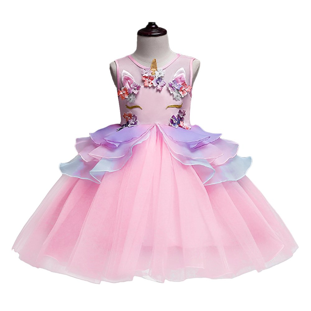 81048ebb4 OBEEII Girls Unicorn Costume Cosplay Dress Party Outfit Fancy Dress ...