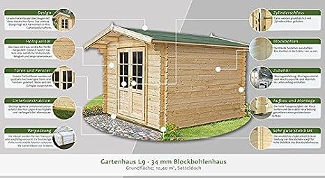 Jardín Casa L9 - 34 mm listones hogar, superficie: 10,40 M², tejado: Amazon.es: Bricolaje y herramientas