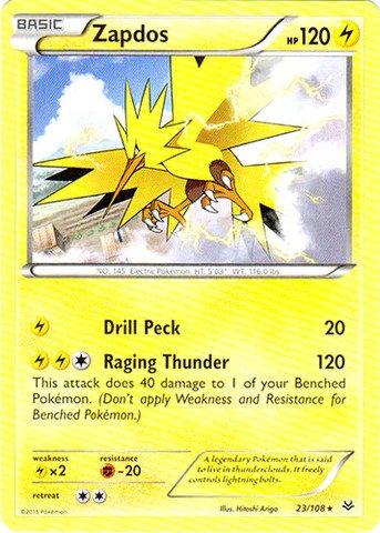amazon com pokemon zapdos 23 108 xy roaring skies toys games