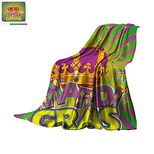 Mardi Gras Throw Blanket Antique Crown on Vintage Radial Backdrop Lettering with Checkered Pattern Warm Microfiber All Season Blanket for Bed or Couch 60