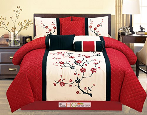 Blossom Set Bedding - 7-Pc Quilted Peach Plum Blossom Tree Embroidery Comforter Set Red Off-White Black Queen